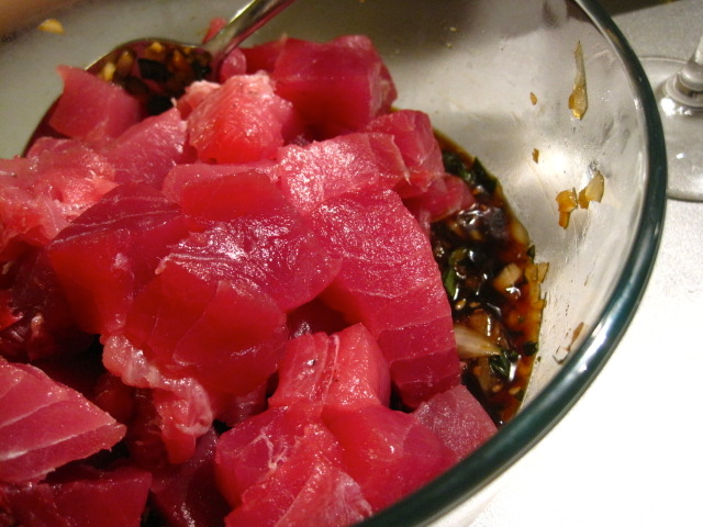After 30 minutes in the fridge, add in 1lb of your cubed (3/4-inch cubes) ahi tuna - look at that gorgeous colour!