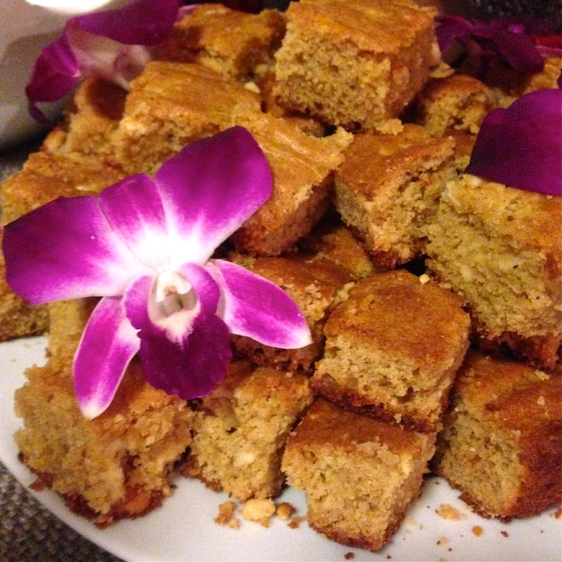 White chocolate cashew and cardamon blondies (edible flower included)