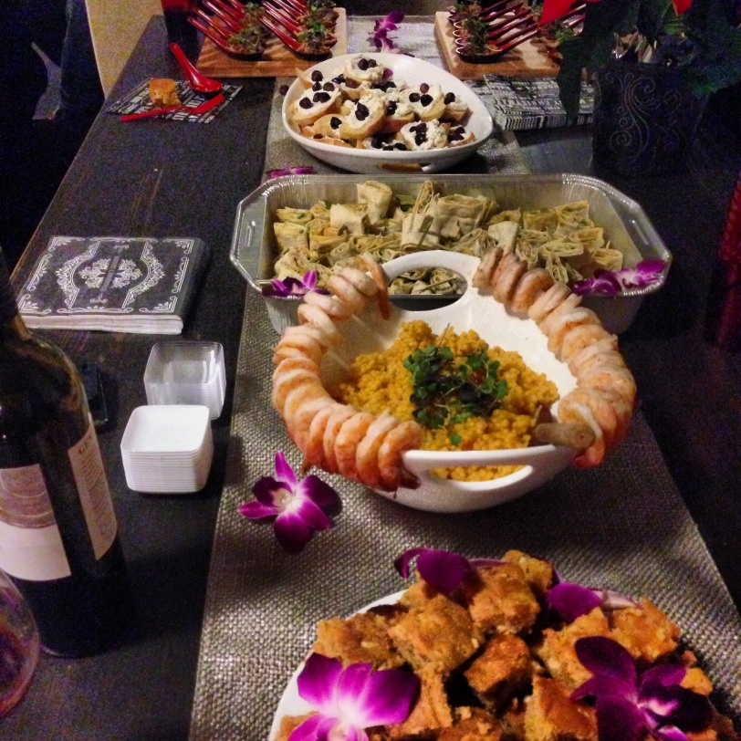A fine dining spread: curried pulled pork with fennel-apple chutney; mint-ricotta crostini with roasted black grapes in sea salt; dill-cucumber-hummus wraplets; saffron Israeli couscous in white wine with sauteed shrimp in lime and sea salt; white chocolate cashew-cardamon blondies. A feast, to say the least!